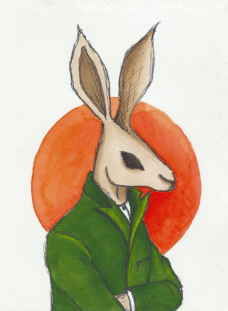 Coniglio antropomorfo con giacca verde e sfondo arancio