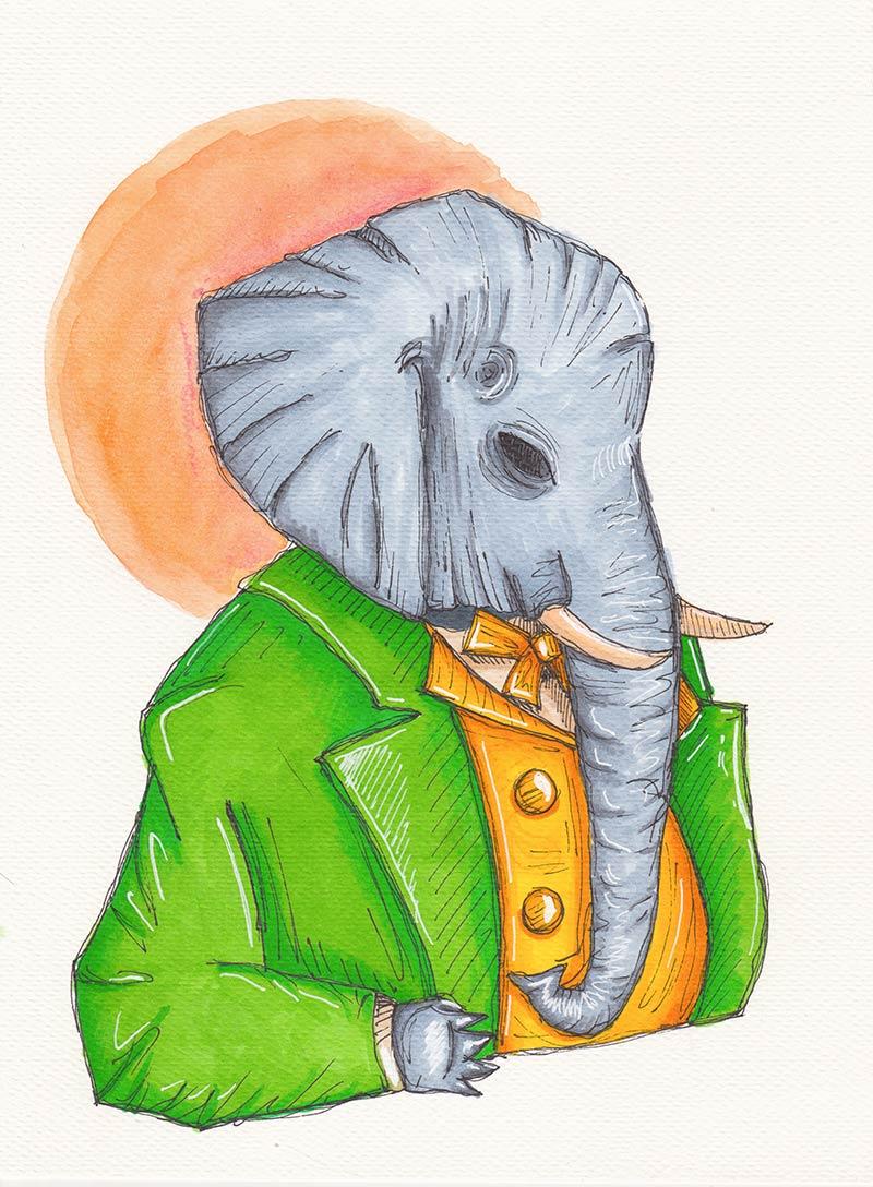 Elefante antropomorfo vestito con colori accesi