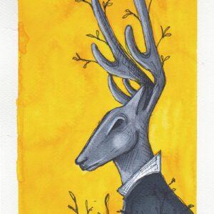 Cervo antropomorfo con corna fiorite su sfondo giallo