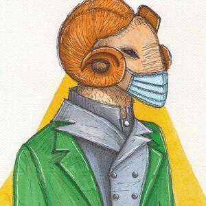 Capra antropomorfa con mascherina e vestiti