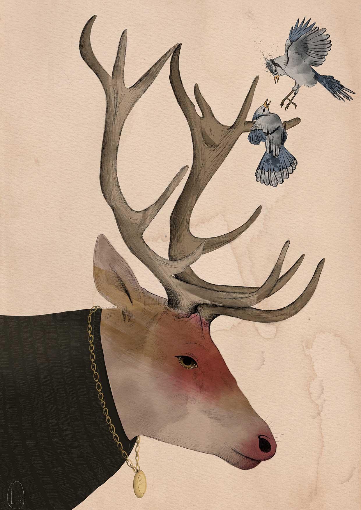 Cervo antropomorfo con uccellini sulle corna
