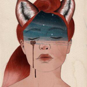 ritratto di donna con capelli simili alla coda di una volpe e orecchie da volpe