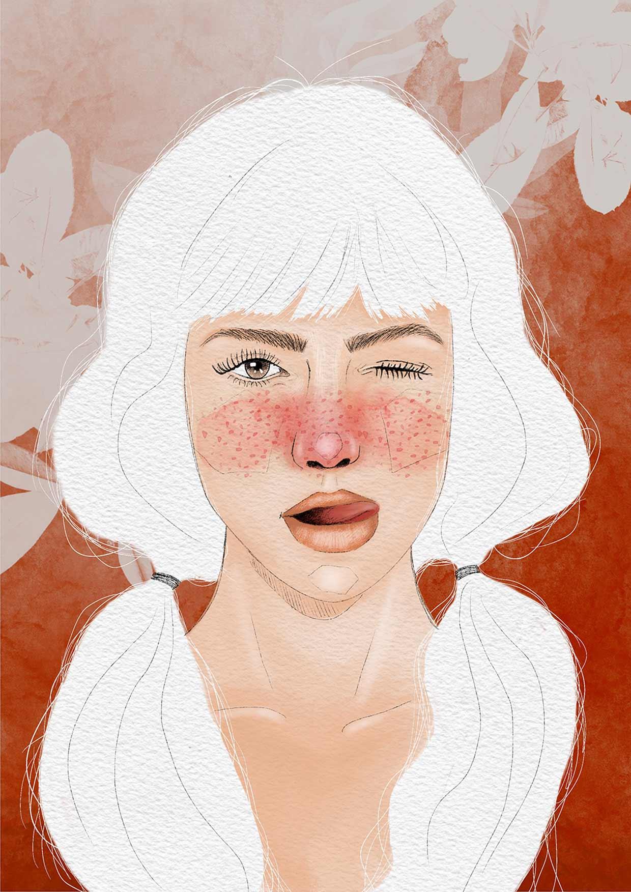 Ritratto di ragazza con capelli bianchi, guance rosse, codini ai capelli e lingua di fuori
