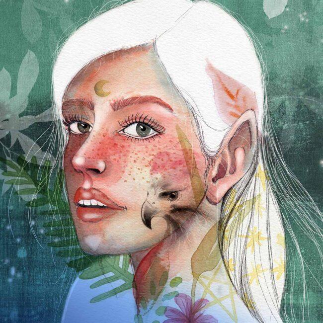 Ritratto di ragazza con lentiggini ed elementi della natura intorno
