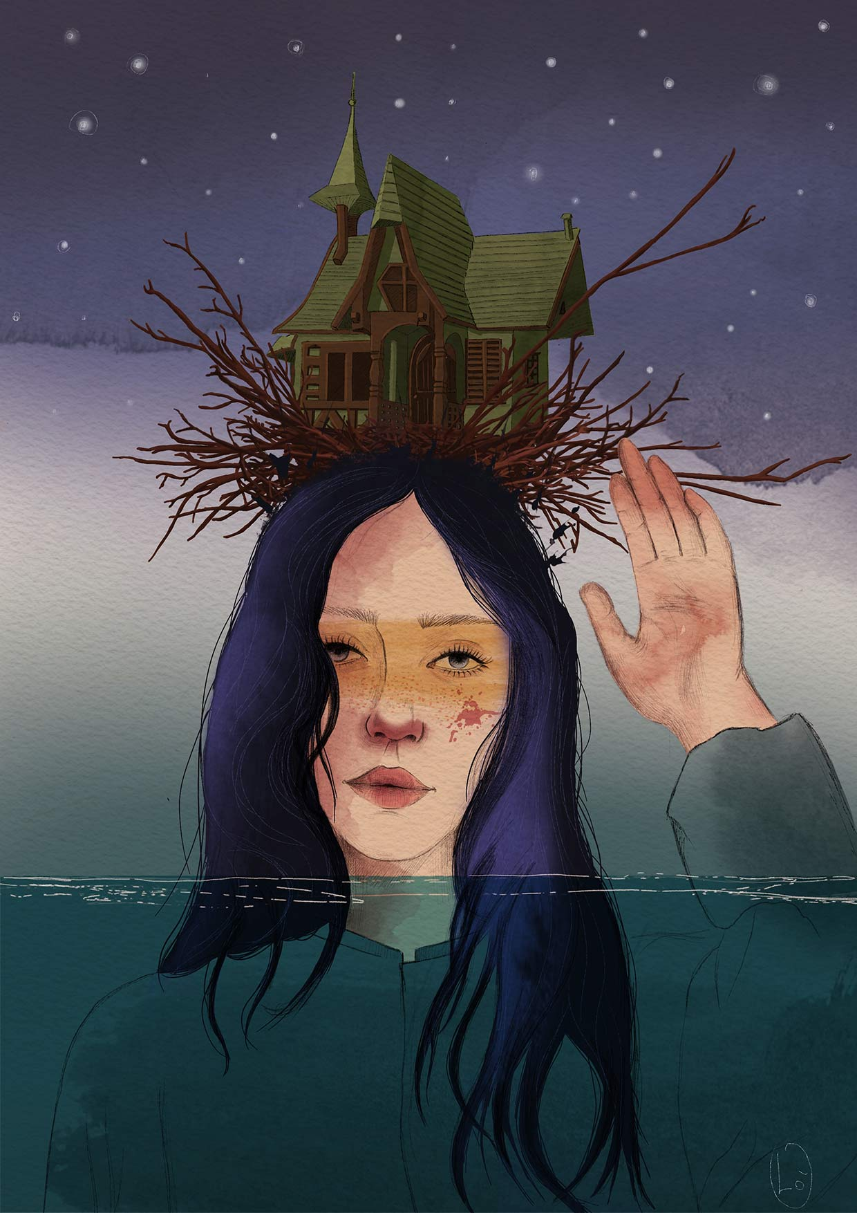 Ritratto di ragazza dai capelli neri e viola con una casa nido sulla testa